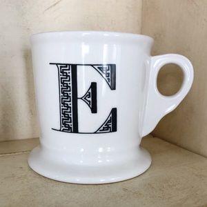 Anthropologie E Monogram Initial Cup Mug White